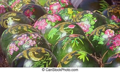 Large Watermelons Decorated with Paintings on Market -...