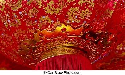 Wind Shakes Slowly Large Red Golden Chinese Lantern Bottom -...