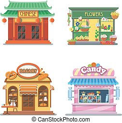 Nice showcases of shops. Bakery, candy store, chinese food,...