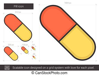 Pill line icon. - Pill line icon for infographic, website or...