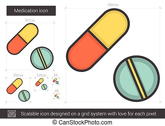Medication line icon. - Medication vector line icon isolated...