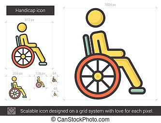 Handicap line icon. - Handicap vector line icon isolated on...