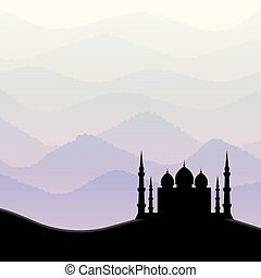 Sunrise background with mosque silhouette. Vector illustration.