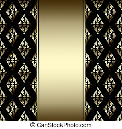 Luxury Border with golden ornament on a black background -...