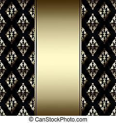 dourado, Ornamento, pretas, luxo, fundo, borda