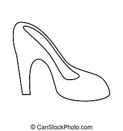 women day high heel shoes thin line vector illustration eps...