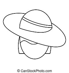 women day face woman hat thin line vector illustration eps...