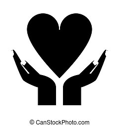 hand holding heart healthcare pictogram