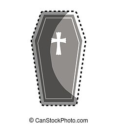 coffin halloween card icon vector illustration design