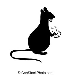 rat eating cheese silhouette