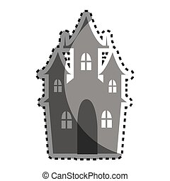 castle building halloween card