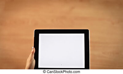 Top view female hands drawing exclamation mark symbol on tablet horizontal