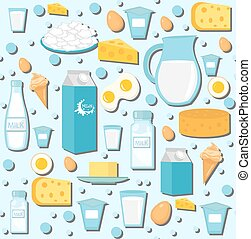 Dairy products seamless pattern with milk, cheese. Dairies...