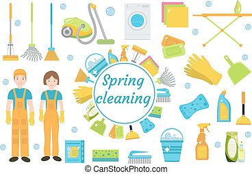 Spring Cleaning icons, flat style. Housekeeping frame with...