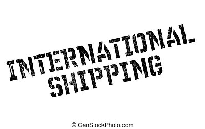 International Shipping rubber stamp. Grunge design with dust...