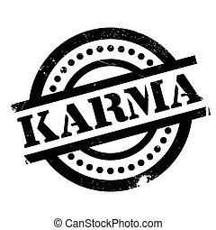 Karma rubber stamp. Grunge design with dust scratches....