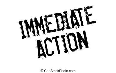 Immediate Action rubber stamp. Grunge design with dust...