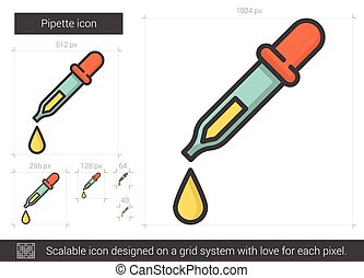 Pipette line icon. - Pipette vector line icon isolated on...