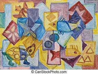 Cubist underwater world painting - Cubist underwater world...