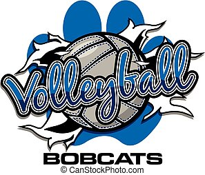 bobcats volleyball team design with ball ripping through the...