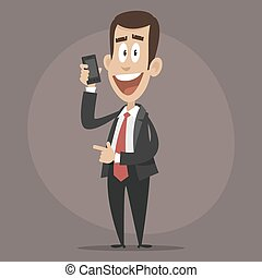 Happy businessman talking on phone - Illustration, happy...