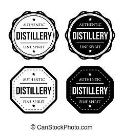 Distillery vintage logo stamp set vector