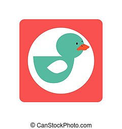 square shape with silhouette duck toy vector illustration