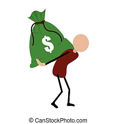 people carrying a bag with dollar symbol