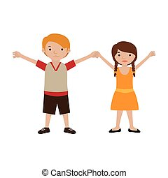 couple of kids togheter in casual clothes vector...
