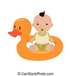 Inflatable duck with baby boy