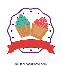 colorful cream cupcakes set with border and label