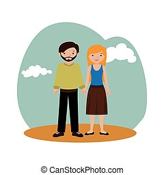 background with couple casual clothing vector illustration