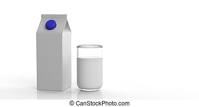 White blank carton box and glass of milk. 3d illustration -...