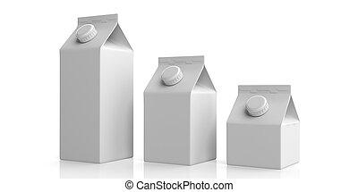 White blank carton boxes on white. 3d illustration - White...