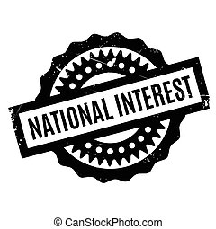 National Interest rubber stamp. Grunge design with dust...