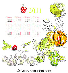 Calendar for 2011 with vegetable