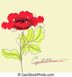 Red flowers with inscription congratulation
