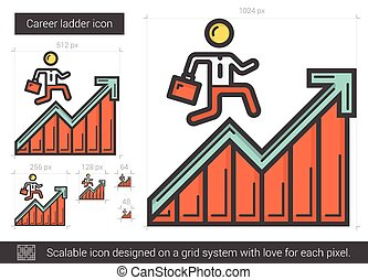 Career ladder line icon. - Career ladder line icon for...