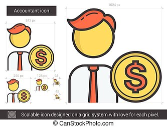 Accountant line icon. - Accountant vector line icon isolated...