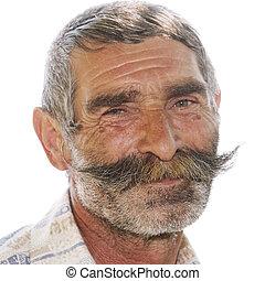 Portrait of positive elderly man with moustaches - Portrait...