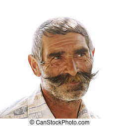 Portrait of elderly man with moustaches - Portrait of...