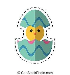 cartoon cute easter egg chicken