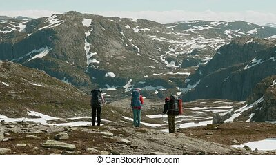 Three friends in the Norwegian mountains.
