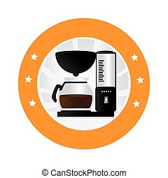 circular border with coffee maker with glass jar vector...