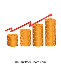 line with rising arrow and stack coins vector illustration...