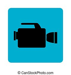 square border with tech videocamera vector illustration