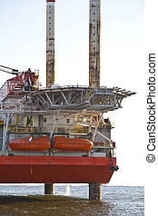 Close up of oilrig at sea