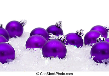 Christmas ornaments in the snow, Merry Christmas