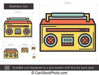 Boombox line icon. - Boombox vector line icon isolated on...