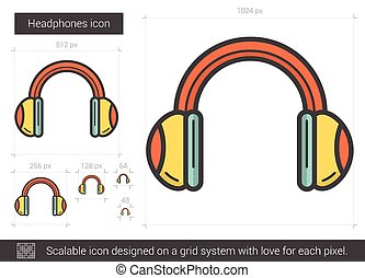 Headphones line icon. - Headphones vector line icon isolated...